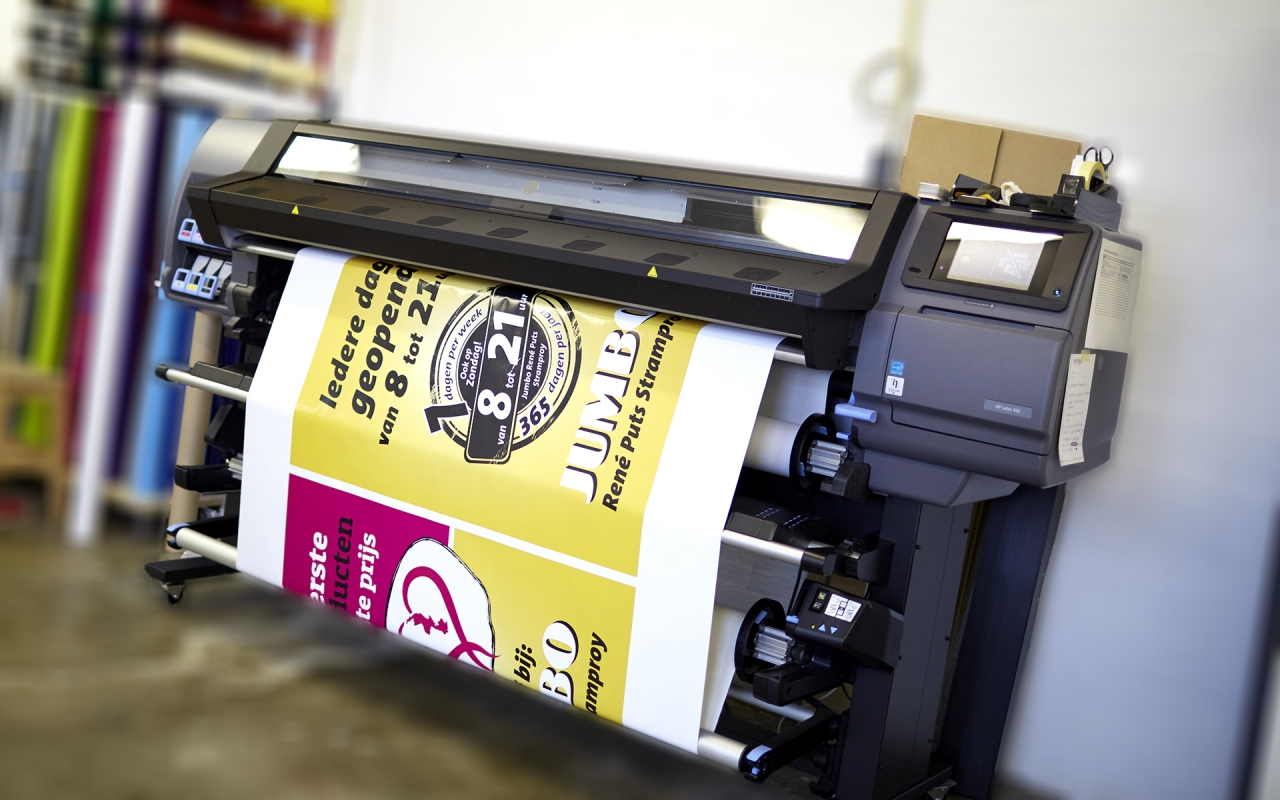 Jumbo, full color print, productie sticker, latex printer, HP, folie print